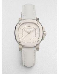 Burberry Stainless Steel Leather Watchwhite - Lyst
