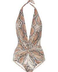 Karla Colletto Snakeprint Plungefront Halterneck Swimsuit - Lyst