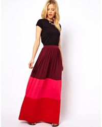 ASOS Collection Asos Maxi Skirt in Color Block red - Lyst