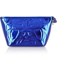 McQ by Alexander McQueen Embossed Metallic Faux Leather Cosmetics Case - Lyst