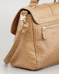 Tory Burch - 797 Crocodile-embossed Medium Satchel Bag Taupe - Lyst