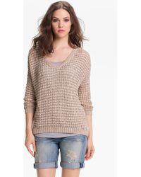 Caslon® Vneck Ribbon Yarn Sweater - Lyst