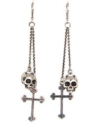 King Baby Studio Skull and Traditional Cross Double Drop Earrings - Lyst