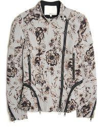3.1 Phillip Lim Flower Print Biker Jacket - Lyst