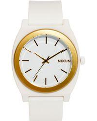 Nixon Time Teller P White Gold Watch - Lyst