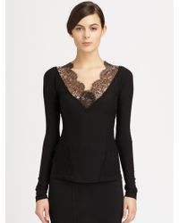 Donna Karan New York Lacetrimmed Stretch Jersey Top - Lyst