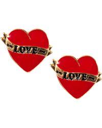 River Island Tattoo Love Heart Stud Earrings - Lyst