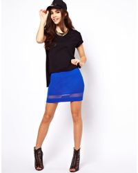 ASOS Collection Mini Skirt with Sheer and Solid Hem blue - Lyst
