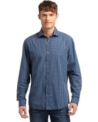 Blue Saks Fifth Avenue - Checked Shirt - Lyst