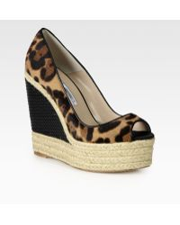 Brian Atwood | Cailey Leopardprint Pony Hair Leather Espadrille Wedges | Lyst