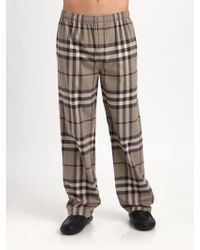 Burberry Flannel Pajamas Pants brown - Lyst