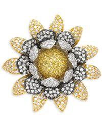 CZ by Kenneth Jay Lane - Flower Crystal Brooch - Lyst