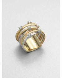 Marco Bicego Goa Diamond, 18K White, Rose & Yellow Gold Seven-Row Ring white - Lyst