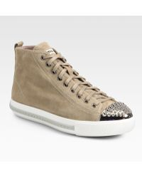 Miu Miu Studded Suede High Top Sneakers - Lyst