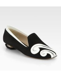 Nicholas Kirkwood Suede Patent Leather Swirl Loafers - Lyst