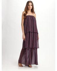 Pjk Patterson J. Kincaid Strapless Printed Maxi Dress - Lyst