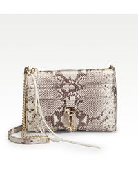 Rebecca Minkoff Snake embossed Leather Clutch with Chain - Lyst