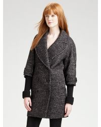 Burberry Double breasted Tweed Coat - Lyst