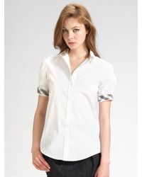 Burberry Brit Ruched Stretch Cotton Shirt - Lyst