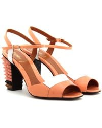 Fendi Patent Leather Sandals with Studded Heel - Lyst
