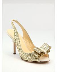 Kate Spade Charm Glitter Slingbacks - Lyst