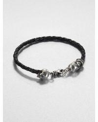 King Baby Studio Braided Leather Hamlet Skull Bracelet - Lyst