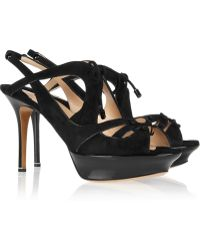 Nicholas Kirkwood Patent Leather and Suede Slingback Sandals - Lyst