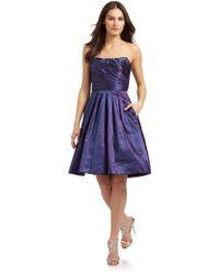 Theia Blueberry Taffeta Strapless Dress - Lyst
