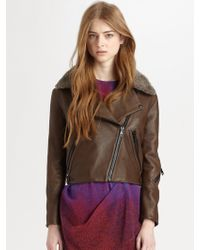 Acne Studios Rita Leather and Shearling Jacket - Lyst
