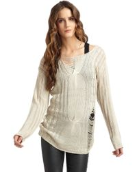 Aro - Distressed Cableknit Tunic Sweater - Lyst