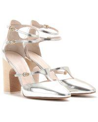 Chloé Adelin Metallic Leather Block Heel Pumps - Lyst
