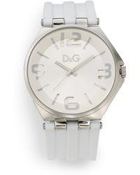 Dolce & Gabbana - Diecut Embellished Dial Silicone Strap Watch - Lyst