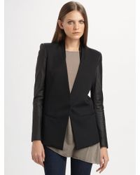 Helmut Lang Crux Leather-Sleeved Wool Blazer - Lyst