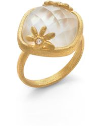 Indulgems - Mother Of Pearl Crystal Ring - Lyst