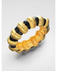 Kenneth Jay Lane Polished Gold Ribbed Bracelet Black/gold VglumfeAJx