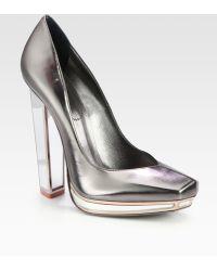Saint Laurent Metallic Leather Mirror Heel Platform Pumps - Lyst