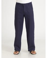Saks Fifth Avenue Linen Pants - Lyst