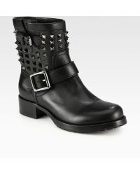 Valentino Noir Rockstud Leather Biker Boots - Lyst