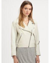Acne Studios Rita Denimtrim Leather Jacket - Lyst