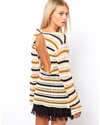 ASOS - Striped Open Knit Jumper with Back Detail - Lyst