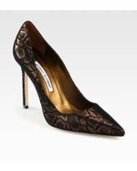 Manolo Blahnik Bronzed Snakeprint Suede Bb Pumps - Lyst
