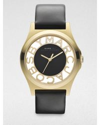 Marc By Marc Jacobs Henry Skeleton Goldtone Stainless Steel & Leather Strap Watch - Lyst