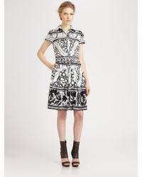 Oscar de la Renta Printed Poplin Dress - Lyst