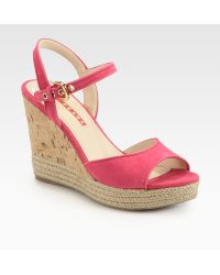 Prada Suede Cork Wedge Sandals - Lyst