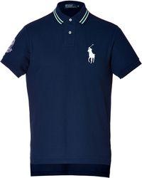 Ralph Lauren Blue Label - Cotton Pique Custom Fit Wimbledon Polo Shirt in French Navy - Lyst