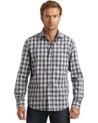 Blue Saks Fifth Avenue - Large Plaid Woven Shirt - Lyst