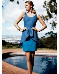 Halston Heritage Cotton & Silk Peplum Dress - Lyst