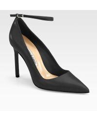 Manolo Blahnik Bb Leather Ankle-Strap Pumps - Lyst
