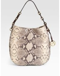 MICHAEL Michael Kors Python Embossed Leather Hobo - Lyst