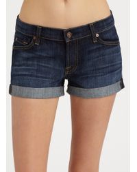 7 For All Mankind Roll-Up Denim Shorts - Lyst